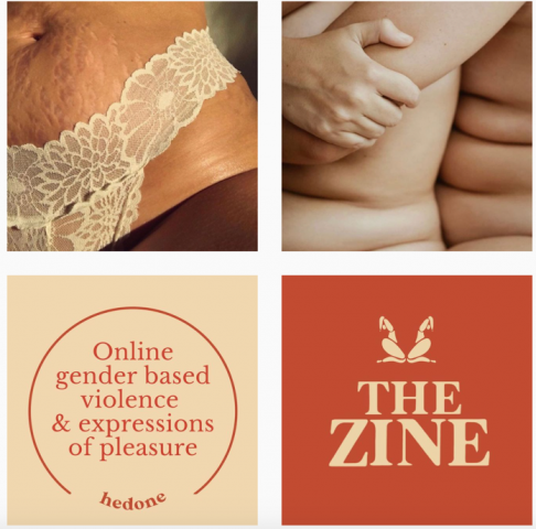 Hedone E-zine Instagram images - two women of color embracing, midriff of a Black woman with stretchmarks in a lace tanga