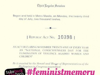 Declaration of 18-Day Campaign against Violence against Women in the Philippines